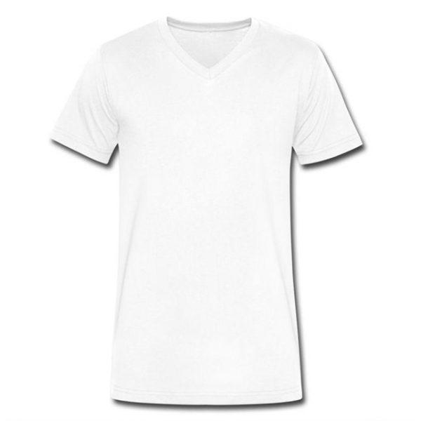 חולצת טישרט צווארון וי צבע לבן