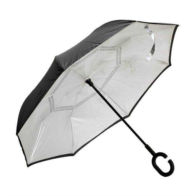 מטריה מתהפכת באגו כסוף שחור