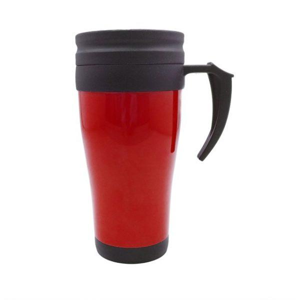 כוס תרמית פלסטיק דגם בורד אדום